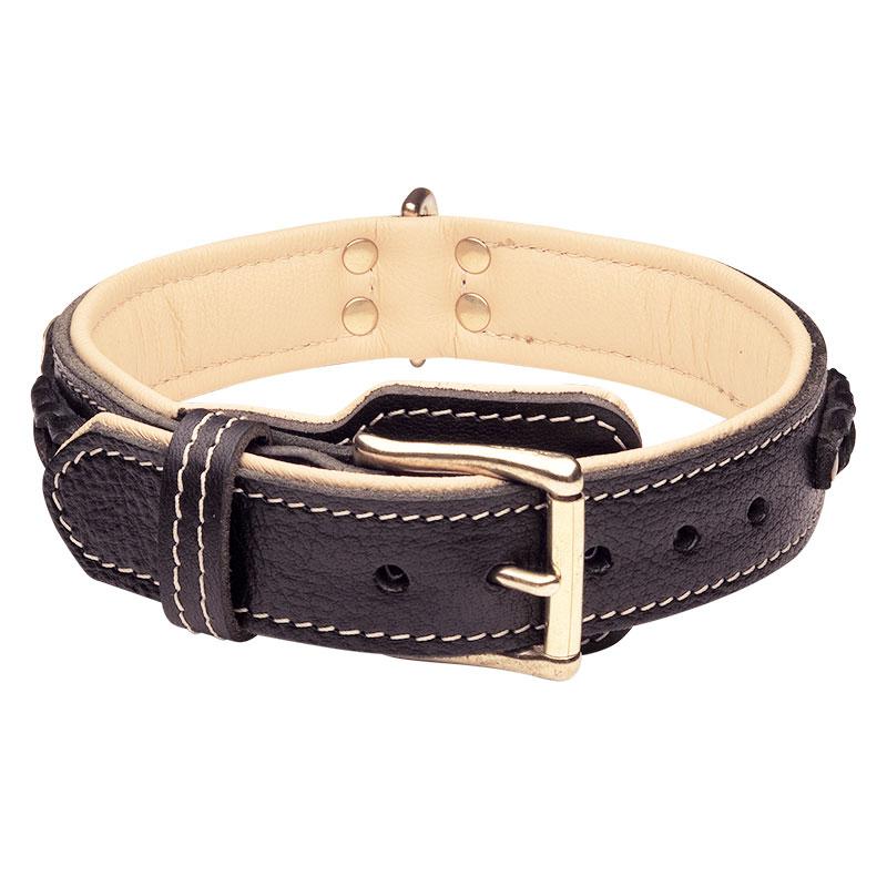 collier chien en cuir fait main couvert de lauriers c43. Black Bedroom Furniture Sets. Home Design Ideas